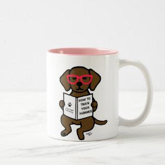 Hipster Chocolate Labrador Puppy Two-Tone Mug