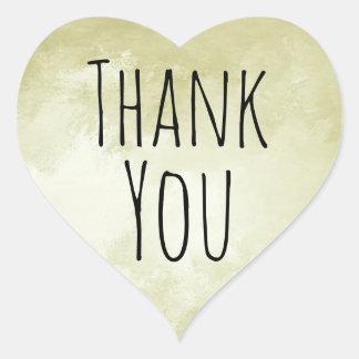 Hipster Cool Gold Heart Thank You Seal Heart Sticker