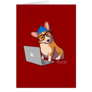 Hipster Corgi 2 Card