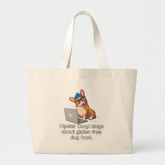 Hipster Corgi 2 Large Tote Bag