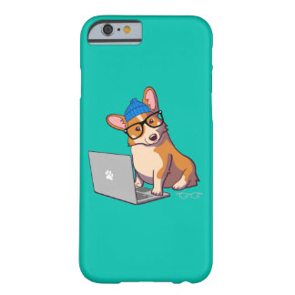 Hipster Corgi 2 Teal Barely There iPhone 6 Case