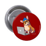 Hipster Corgi 2 (without text) 6 Cm Round Badge