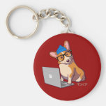 Hipster Corgi 2 (without text) Basic Round Button Key Ring