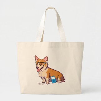 Hipster Corgi (without text) Large Tote Bag