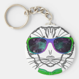 Hipster Cosmos Cat Kitten Space Basic Round Button Key Ring