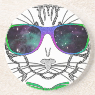 Hipster Cosmos Cat Kitten Space Beverage Coaster