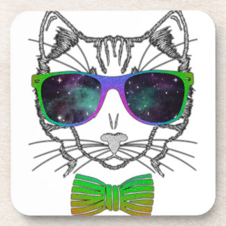 Hipster Cosmos Cat Kitten Space Beverage Coasters