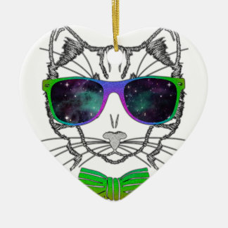 Hipster Cosmos Cat Kitten Space Ceramic Heart Decoration