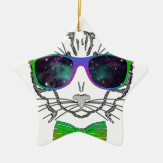 Hipster Cosmos Cat Kitten Space Ceramic Star Decoration