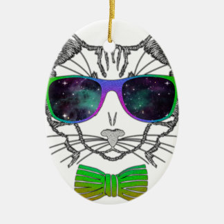 Hipster Cosmos Cat Kitten Space Christmas Ornament