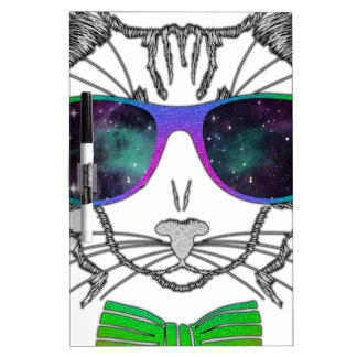 Hipster Cosmos Cat Kitten Space Dry Erase Boards