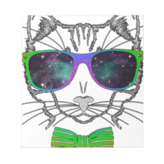 Hipster Cosmos Cat Kitten Space Notepad