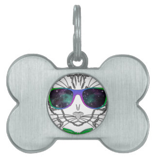 Hipster Cosmos Cat Kitten Space Pet Tag