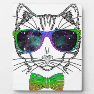 Hipster Cosmos Cat Kitten Space Plaque