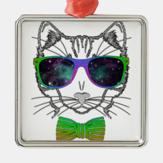 Hipster Cosmos Cat Kitten Space Silver-Colored Square Decoration