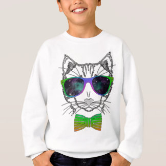 Hipster Cosmos Cat Kitten Space Sweatshirt