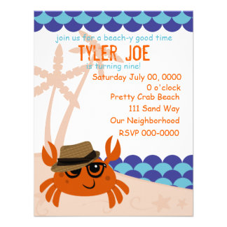 Hipster Crab Personalized Announcement