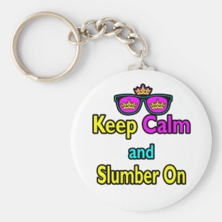 Hipster Crown Sunglasses Keep Calm And Slumber On Basic Round Button Key Ring