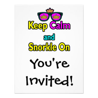 Hipster Crown Sunglasses Keep Calm And Snorkle On Invitations