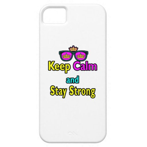Hipster Crown Sunglasses Keep Calm And Stay Strong iPhone 5 Cases