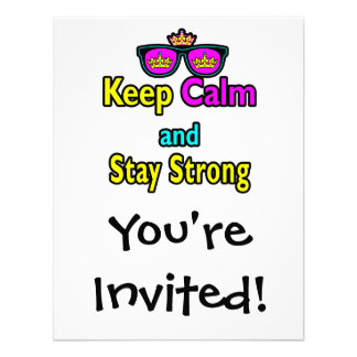Hipster Crown Sunglasses Keep Calm And Stay Strong Personalized Invitations