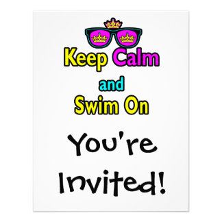 Hipster Crown Sunglasses Keep Calm And Swim On Invitations