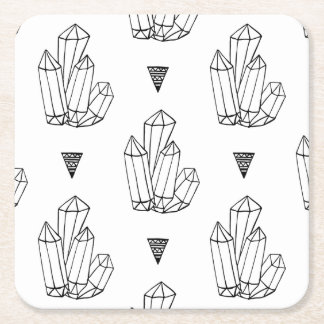 Hipster Crystals Doodle Square Paper Coaster