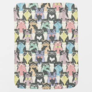 Hipster Cute Cats Pattern Baby Blanket