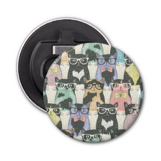 Hipster Cute Cats Pattern Bottle Opener