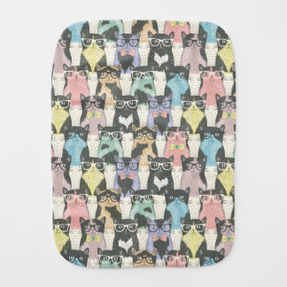 Hipster Cute Cats Pattern Burp Cloth