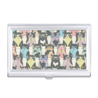 Hipster Cute Cats Pattern Business Card Holder