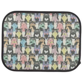 Hipster Cute Cats Pattern Car Mat