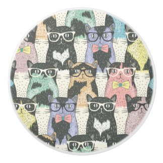 Hipster Cute Cats Pattern Ceramic Knob