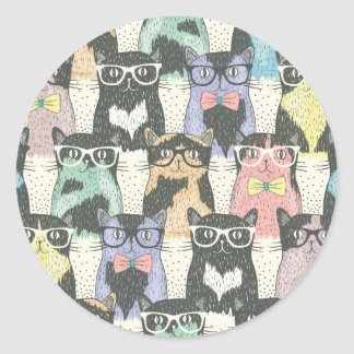 Hipster Cute Cats Pattern Classic Round Sticker