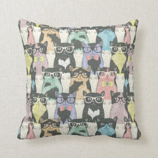 Hipster Cute Cats Pattern Cushion