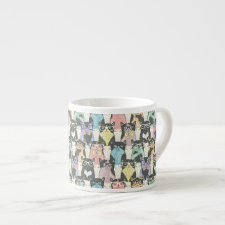 Hipster Cute Cats Pattern Espresso Mug