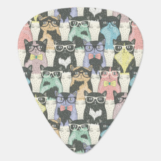 Hipster Cute Cats Pattern Guitar Pick