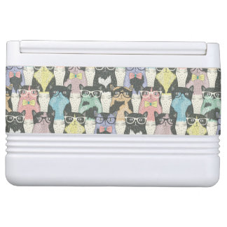 Hipster Cute Cats Pattern Igloo Cool Box