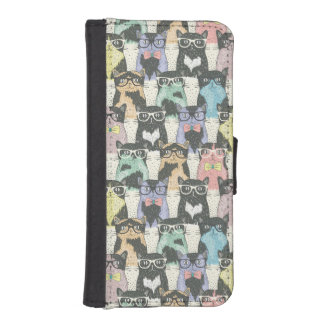 Hipster Cute Cats Pattern iPhone SE/5/5s Wallet Case