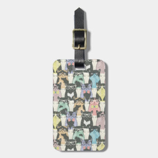 Hipster Cute Cats Pattern Luggage Tag