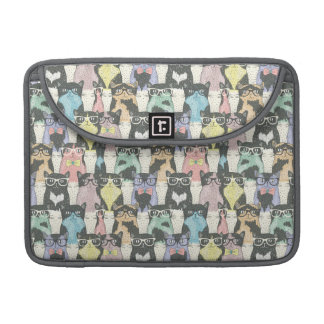 Hipster Cute Cats Pattern MacBook Pro Sleeves