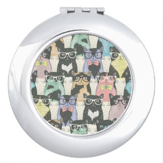 Hipster Cute Cats Pattern Makeup Mirror