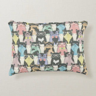 Hipster Cute Cats Pattern Accent Pillow