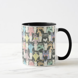 Hipster Cute Cats Pattern Mug