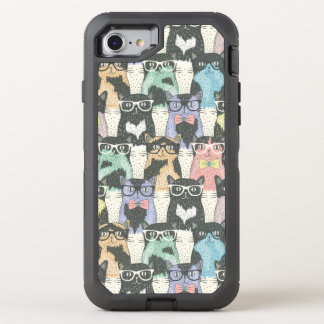 Hipster Cute Cats Pattern OtterBox Defender iPhone 8/7 Case