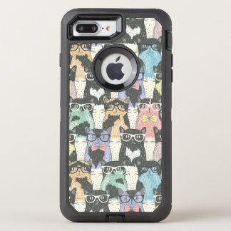 Hipster Cute Cats Pattern OtterBox Defender iPhone 8 Plus/7 Plus Case