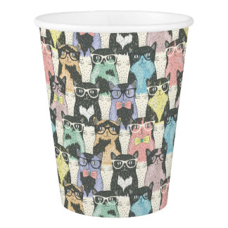 Hipster Cute Cats Pattern Paper Cup