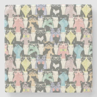 Hipster Cute Cats Pattern Stone Beverage Coaster