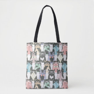 Hipster Cute Cats Pattern Tote Bag