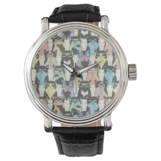 Hipster Cute Cats Pattern Watch